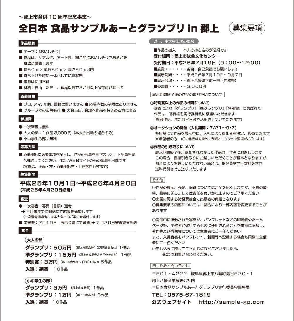 全日本食品サンプルあーとグランプリ