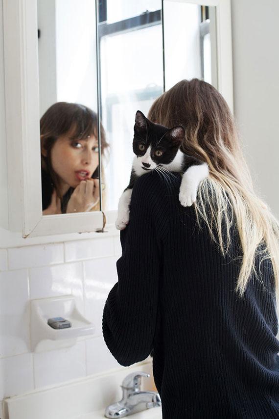 美しい,可愛い,美人飼い主,猫,画像028